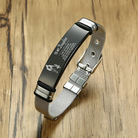 Meaeguet Personalized Bangle Men's Slide Mesh Silver Bracelet (personalized name bracelet)