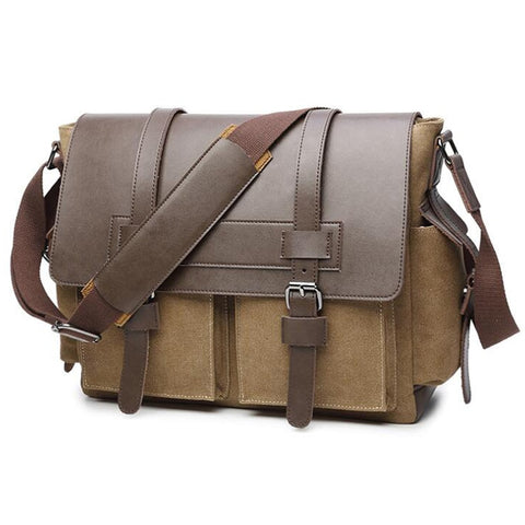 Khaki Messenger Bags Crossbody Canvas Bag Laptop Shoulder Bag