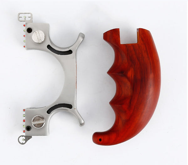 Scorpion Shaped Hunting Slingshot with Wooden Handle components