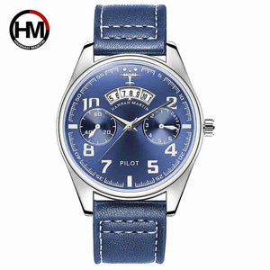 Biden Quartz Pilot Watch with Genuine Leather Strap
