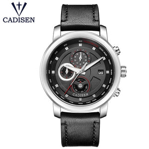 Cadisen Leather Strap Air Watches silver case