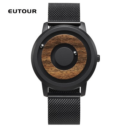 EUTOUR Minimalist Novelty Wood Dial Scaleless Magnetic Watch