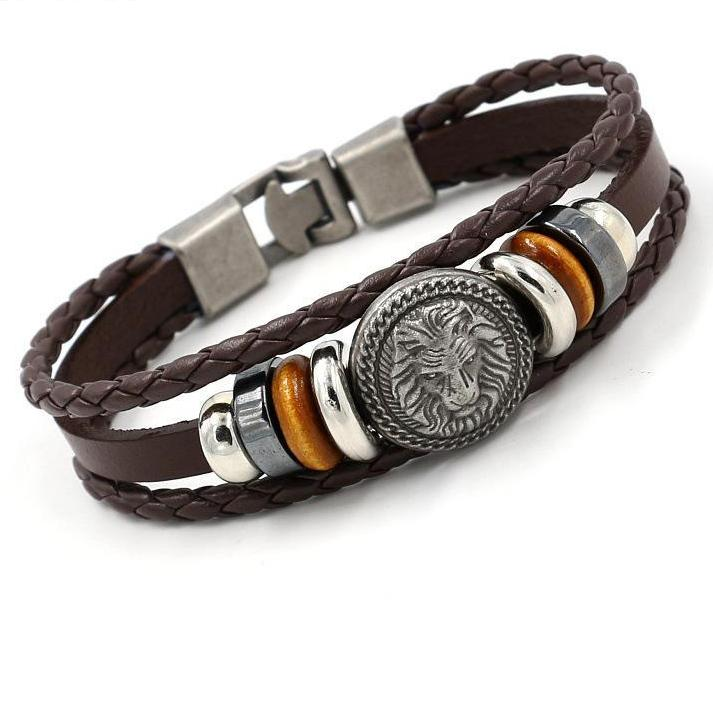 Handmade Retro Leather Woven Charm Rock Lion Bracelet