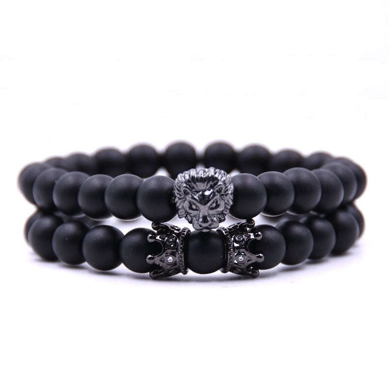 Crowned Lion 2pcs/set Natural stone Matte beads Bracelet