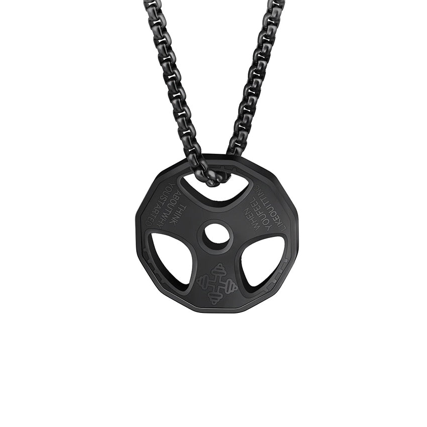 Titanium Stainless Steel Weight Plate Gym Necklace
