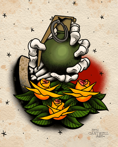 Skeleton Hand With Grenade And Flowers