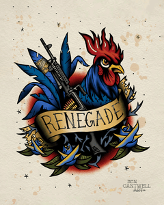 1st Law Enforcement Battalion Blue Renegade Rooster - Artwork Print