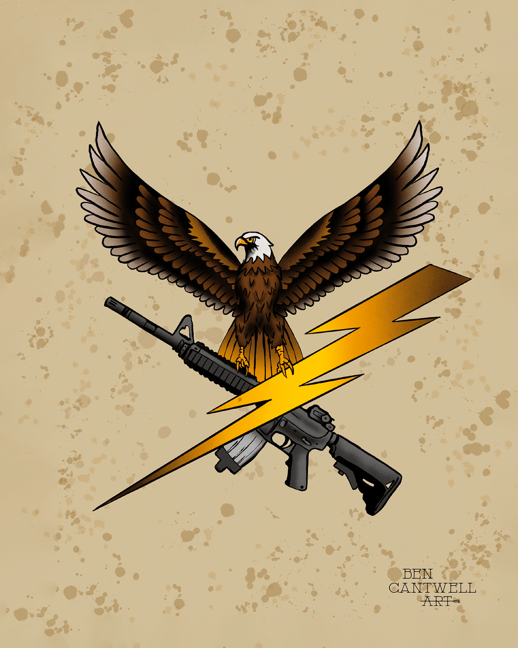 Eagle, Lightning Bolt And Rifle