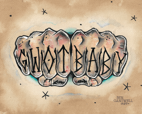 GWOT baby knuckle tattoo