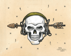 Radio Headset with Skull and Arrow