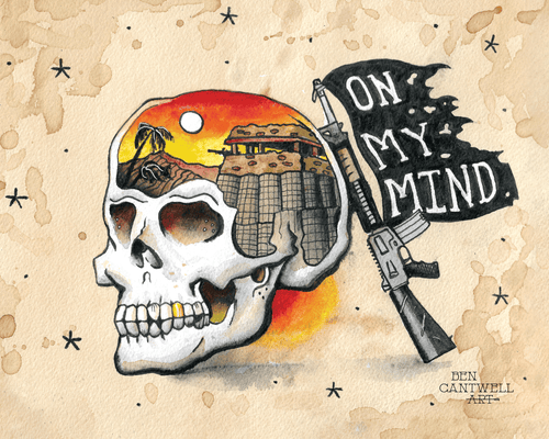 On my mind sunset skull