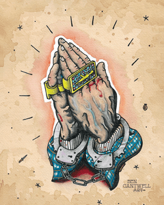Praying cuffed hands