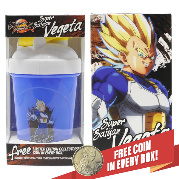 DRAGON BALL FIGHTERZ - SUPER SAIYAN VEGETA COLLECTOR CUP + COLLECTOR COIN - TOEI COLLECTION - 24OZ
