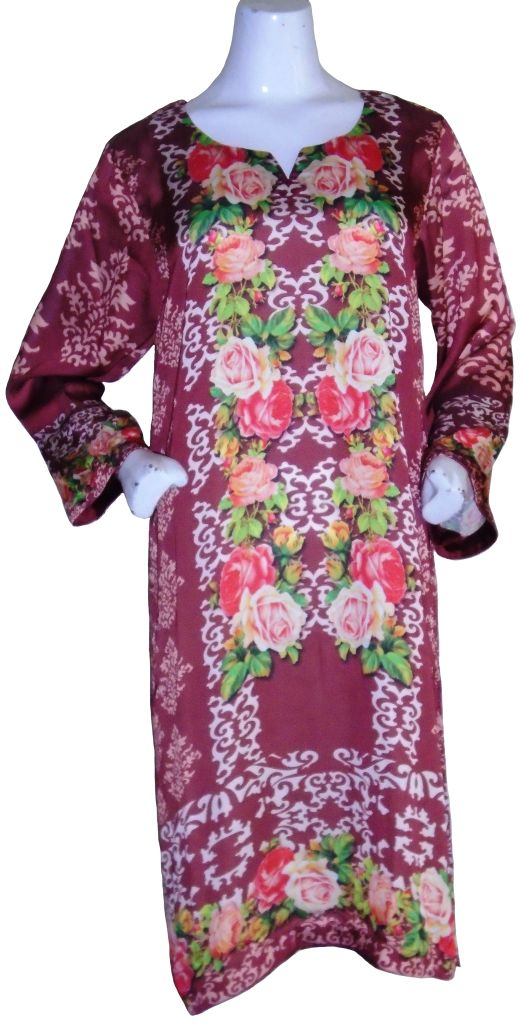 Brown Floral Silk Kurta