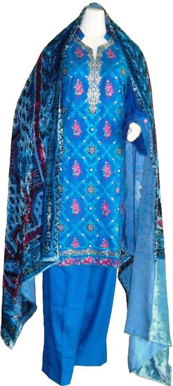 Blue Winter Suit with Velvet Shawl