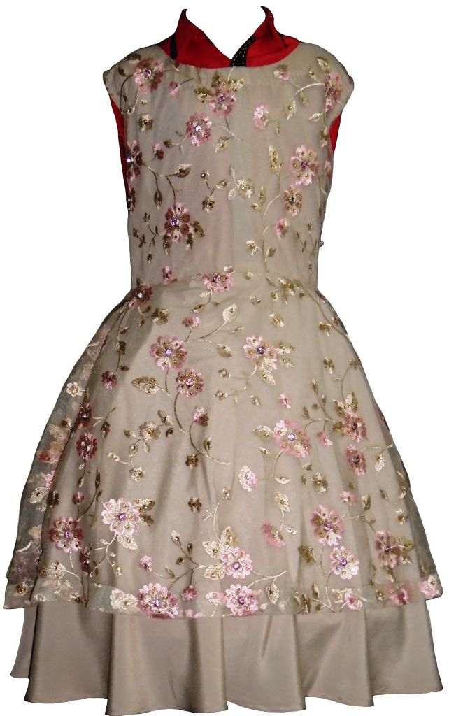 Beige Floral Evening Dress