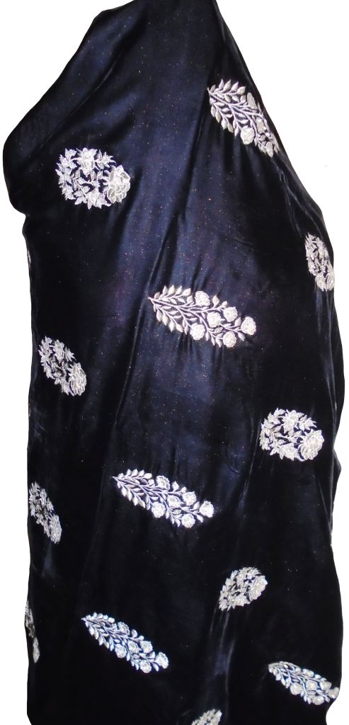 Black and White Embroidered Velvet Shawl