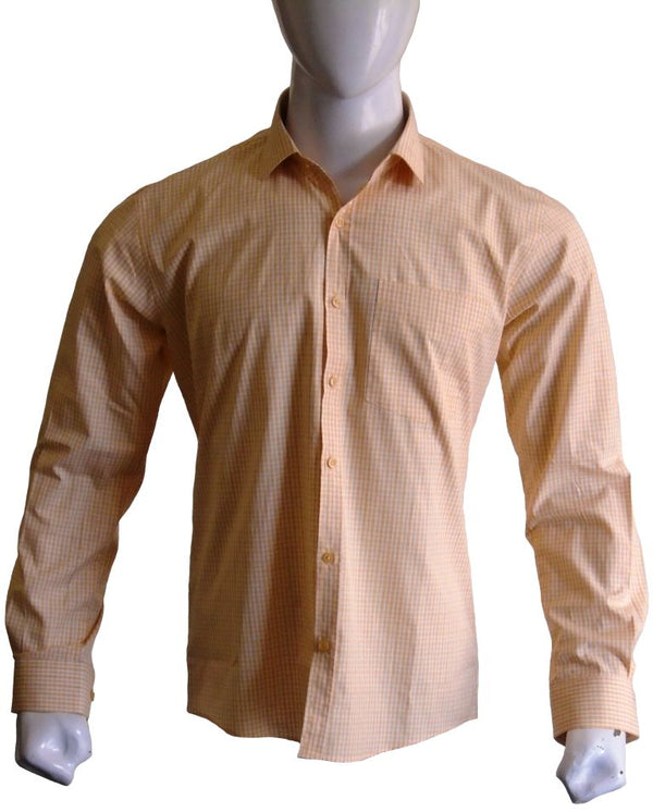 Mustard Check Formal Shirt