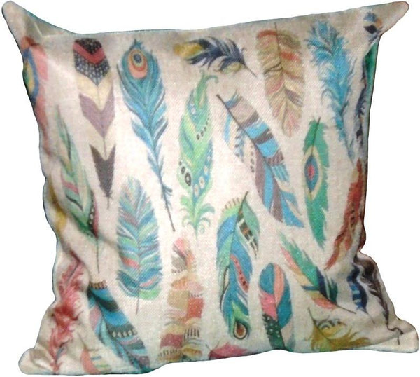 Beige Feather Pair of Cushions