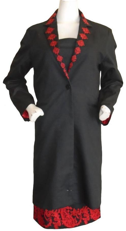 Black and Red Coat and Dress Set