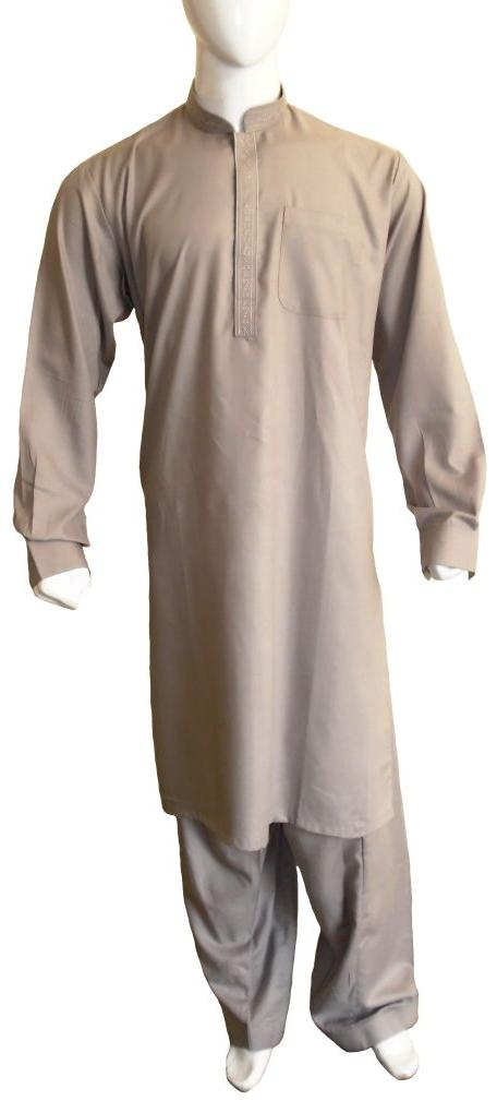 Beige Cotton Embroidered Shalwar Kameez