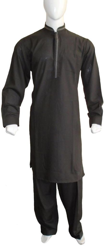 Black Cotton Embroidered Shalwar Kameez