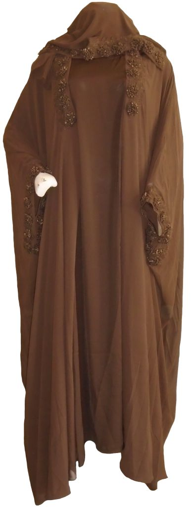 Brown Raised Flowers Abaya