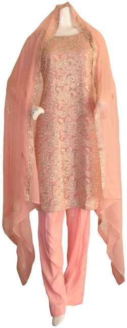 Peach and Gold Chiffon Shalwar Kameez
