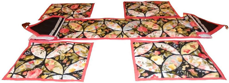 Red and black floral table runner set