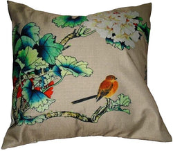 Pink Bird Pair of Cushions