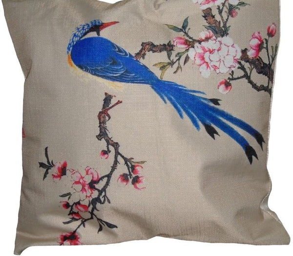 Exotic Blue Bird Pair of Cushion Covers
