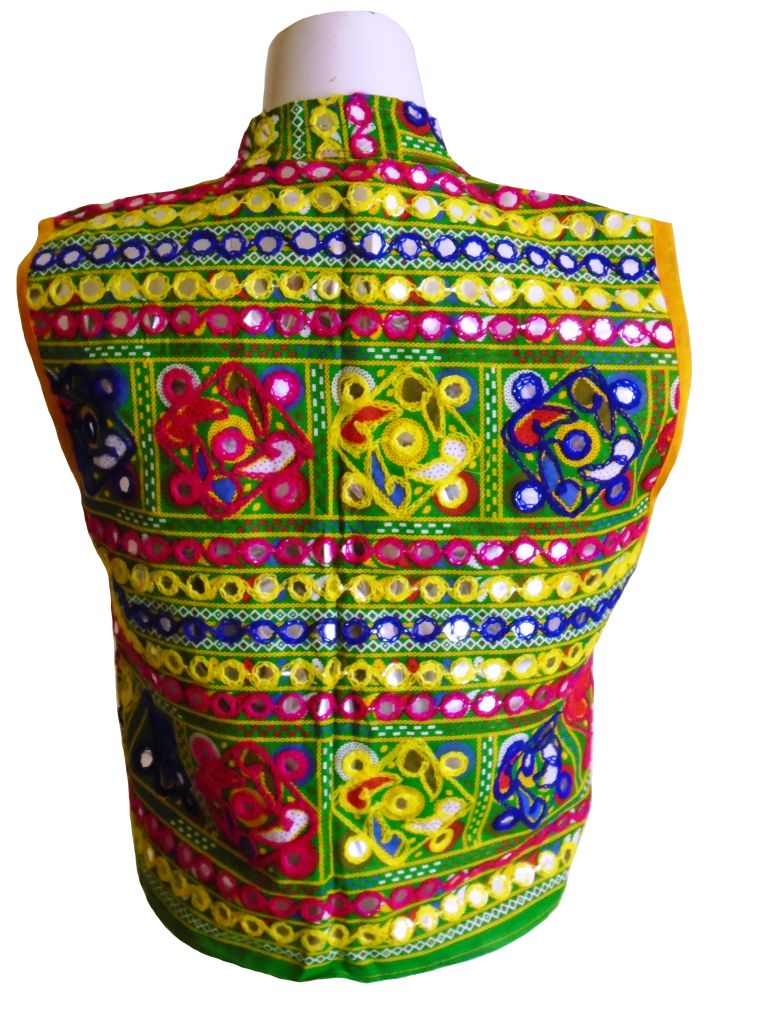 Yellow and Green Ethnic Waistcoat