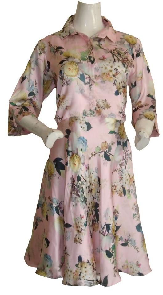 Silk Fit and Flare Flower Dress