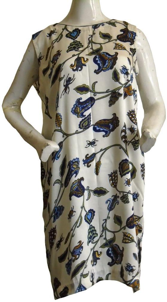 White Silk Printed Dress
