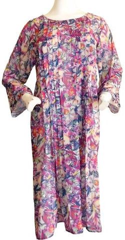 Long Floral Chiffon Dress