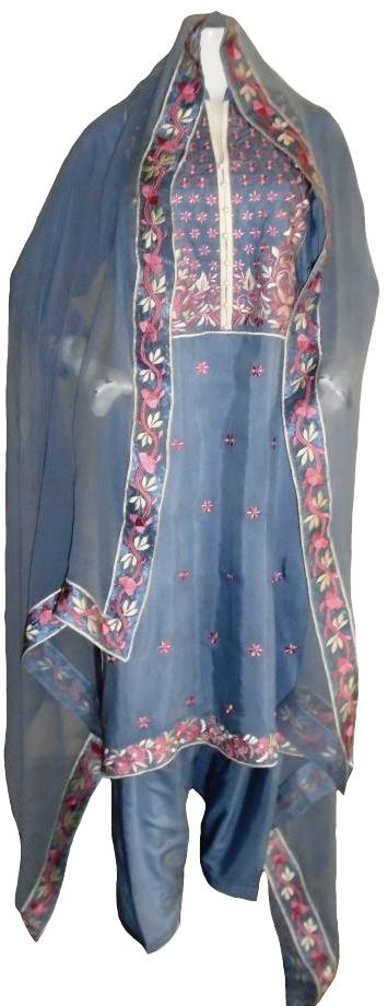 Grey Formal Floral Embroidery Suit