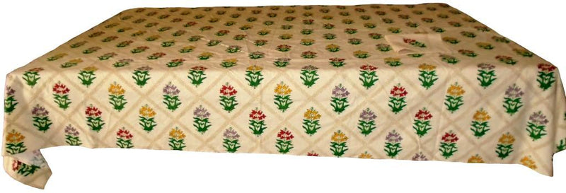 Beige Block Print Table Cloth Set