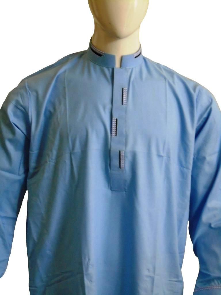 Sky Blue Shalwar Kameez with Black and White Embroidery