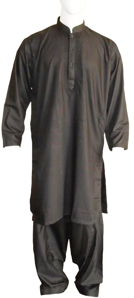 Black Shalwar Kameez with Self Embroidery
