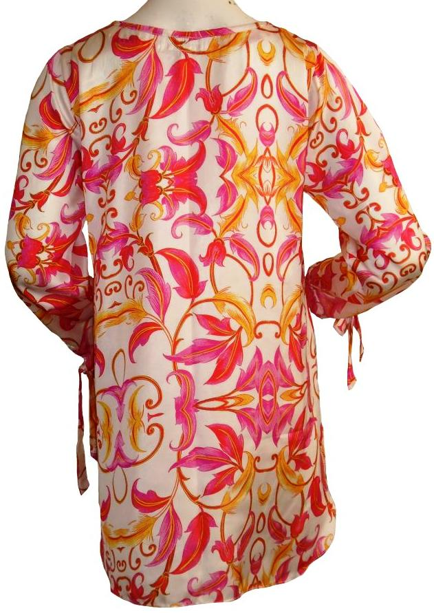 White Silk Tunic with Pink and Orange Flowers