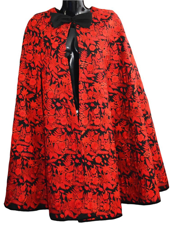 Black and Red Fully Embroidered Cape