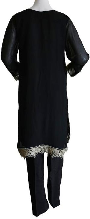 Black Embroidered Chiffon Suit