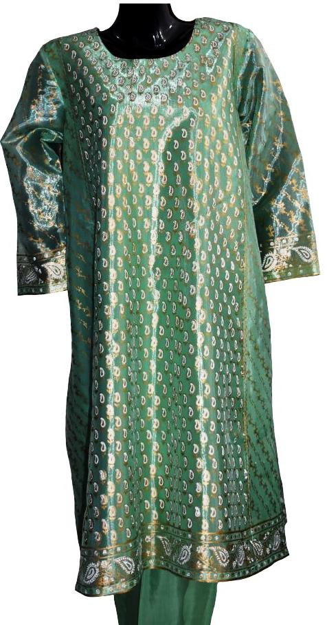 Sea Green & Gold Block Printed Jora