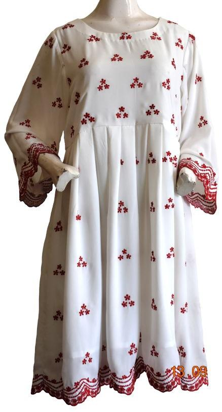 White Embroidered Dress with Red Flowers