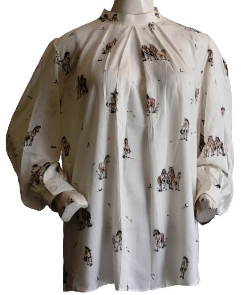 Cream Blouse with Horse Print