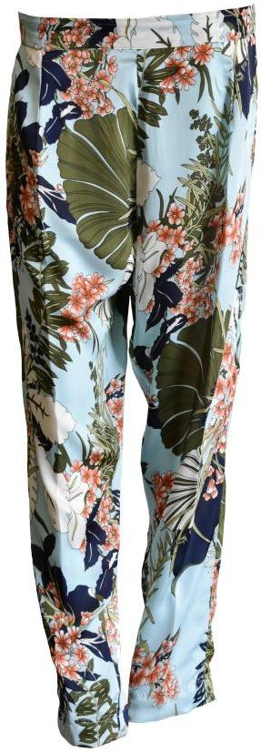 Light Blue Printed Silk Trousers