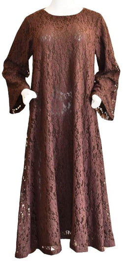 Chocolate Brown Net Kameez