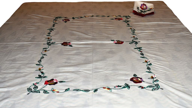 Multicoloured Embroidered Table Cloth Set