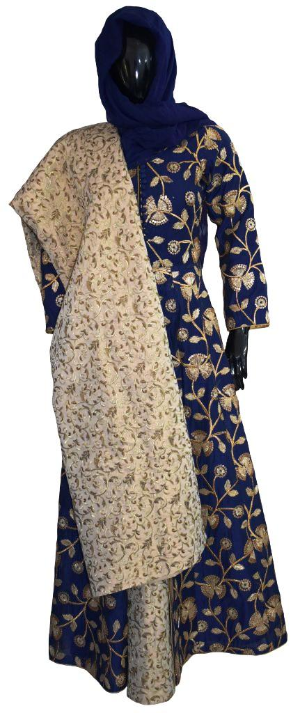 Royal Blue and Gold Wedding Gown and Skirt Ensemble
