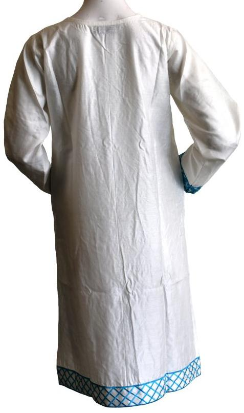 Cream Kurta with Ferozi Embellishment